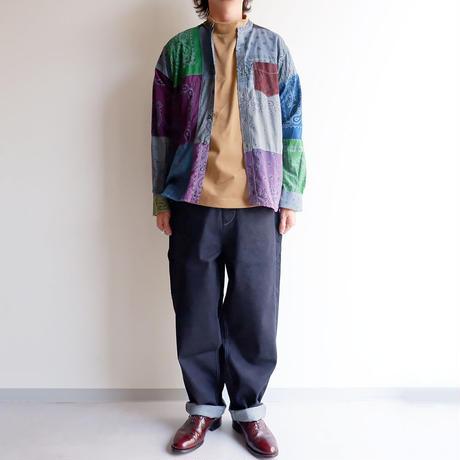 SLOW HANDS(スローハンズ)/Bandana pw standcollar shirts/size:M/ice gray