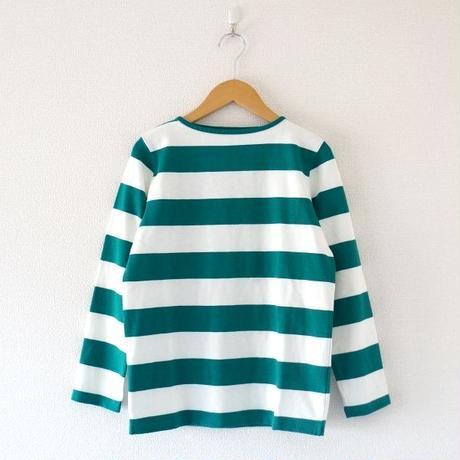 Tieasy(ティージー)/ HDCS ボートネック ワイドボーダーバスクシャツ Natural×Green