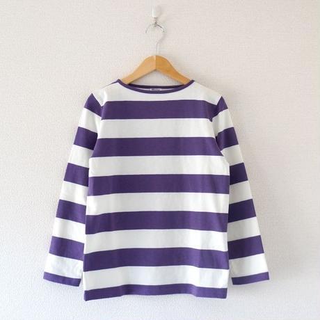 Tieasy(ティージー)/ HDCS ボートネック ワイドボーダーバスクシャツ Natural×Purple