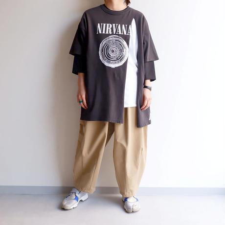 """THRIFTY LOOK(スリフティールック) / """"nirvāṇa"""" gildan raglan tee with tee /BAND Tee"""