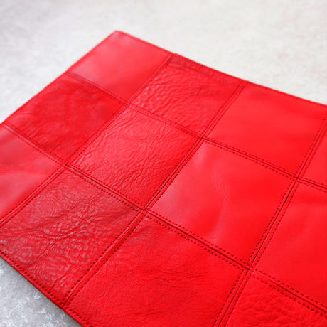 yes crafts/SQUARE POUCH-(L) / スクエア ポーチL/red