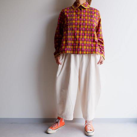 TIGRE BROCANTE (ティグルブロカンテ)/Marcode check Pin Tuck Fril Shirt/Pink