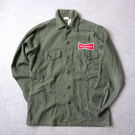 "【vintage】70s US Army Utility Shirts  ""All Cotton"" /Budweiser"