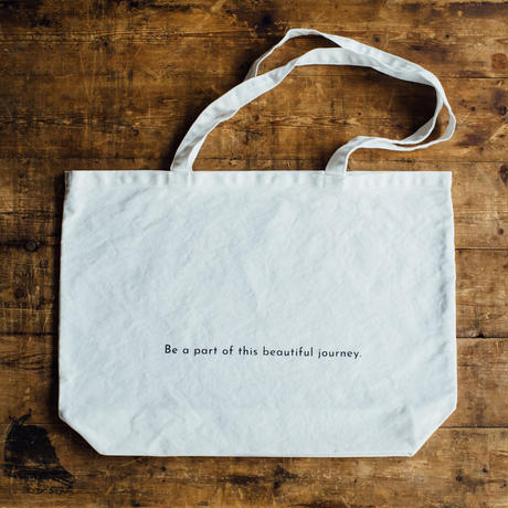 【message tote bag】Be a part of this beautiful journey. (white) ポケットつき