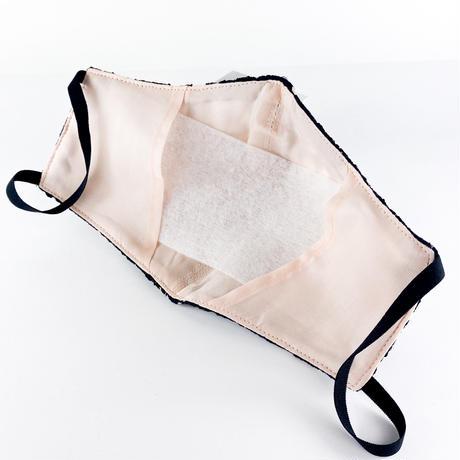 抗ウイルス性不織布内蔵マスク 黒レースxピンク #1864C