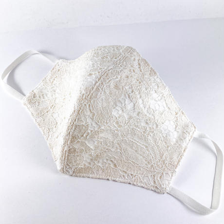抗ウイルス性不織布内蔵マスク アイボリーレース #72F