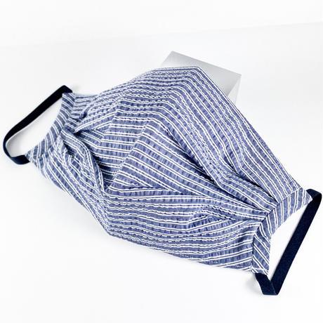 抗ウイルス性不織布内蔵 紺x白ストライプタック/ユニセックス #1858A