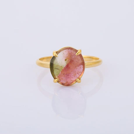 round pink & green watermelon tourmalineリング