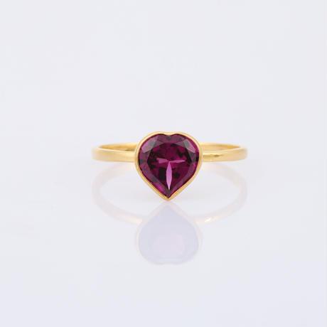 heart shape red garnetリング