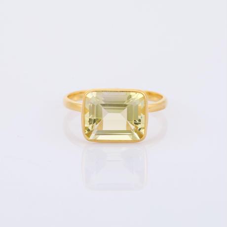 rectangular shape lemon quartzリング
