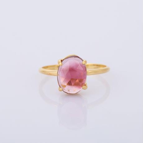 whitish pink graduation bi-color tourmalineリング