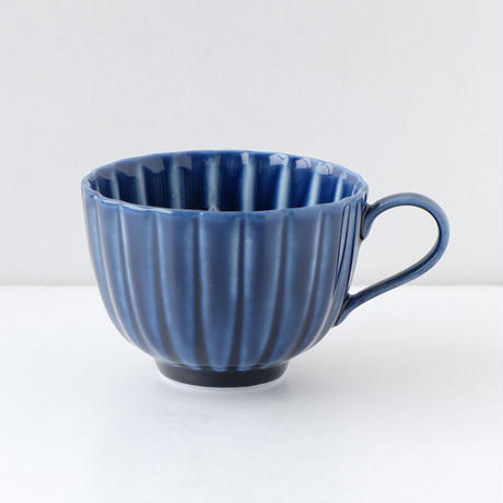 3-962a ぎやまん陶 コーヒー碗 茄子紺ブルー