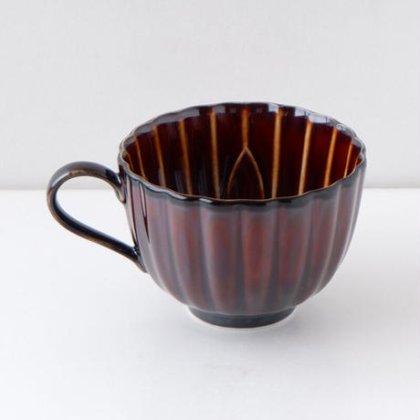 3-954a ぎやまん陶 珈琲碗 漆ブラウン