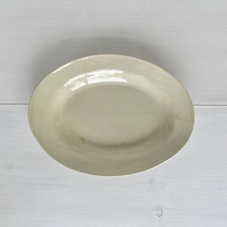 安齋新厚子 米色青磁オーバル皿 (深)