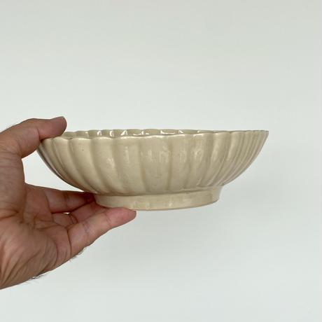 安齋新厚子 米色青磁菱形菊鉢