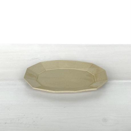 安齋新厚子 米色青磁楕円皿 (中)
