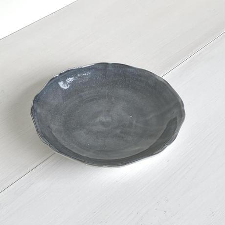 安齋新厚子 白磁藍染め平なます皿