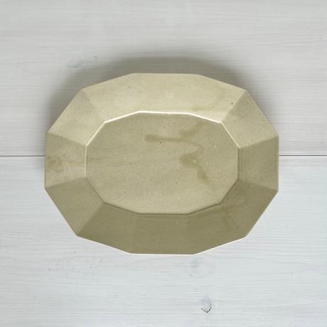 安齋新厚子 米色青磁楕円皿 (大A)