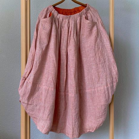 mon sakata バルーンスリットスカート(遠州縞)