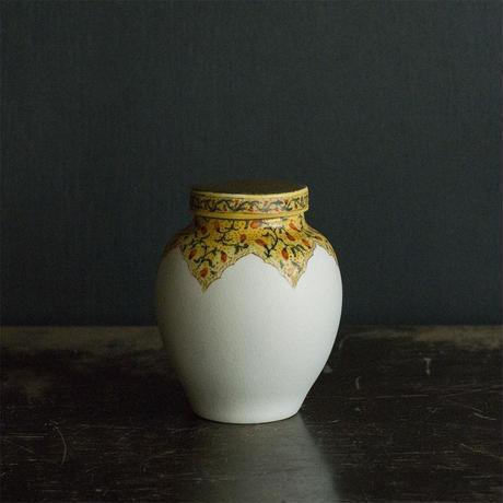 升たか 色絵金彩更紗紋茶入