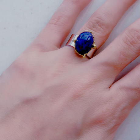 vintage cabochon ring navy