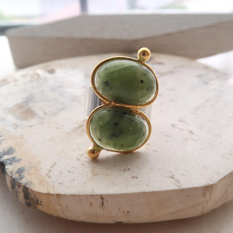 vintage cabochon double ring