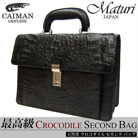 Maturi マトゥーリ 最高級 カイマン クロコダイル センター取り 鍵付き セカンドバッグ 黒 MT-21