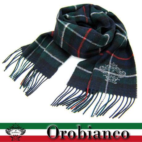 Orobianco オロビアンコ マフラー タータンチェック柄 ロゴ刺繍入り GR (169)
