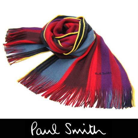 Paul Smith ポールスミス マフラー フリンジ マルチストライプ レッド (64)