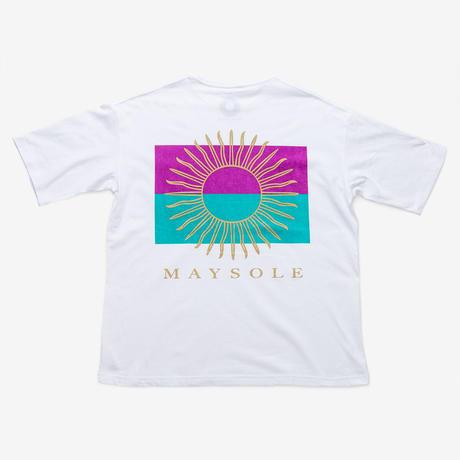 MAYSOLE ロゴ B/P ポケット付き Tシャツ PURPLE / TURQUOISE