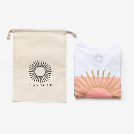 MAYSOLE ロゴ B/P ポケット付き Tシャツ PINK / BLUE