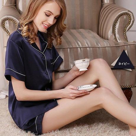 (MAYUDAMAシルク)贅沢シルク100% シルク パジャマ レディース 夏 半袖 前開き 上下セット 2ピースセット 知的でエレガント ルームウェア <ネイビー>