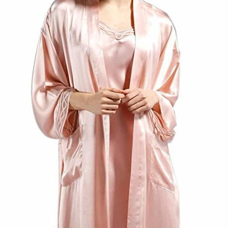 (MAYUDAMAシルク) シルク ガウン ローブ スリップ 2ピース セット 絹100% 胸元チュール レース インナー キャミソール バスローブ レディース シンプル ベーシック <ピンク>