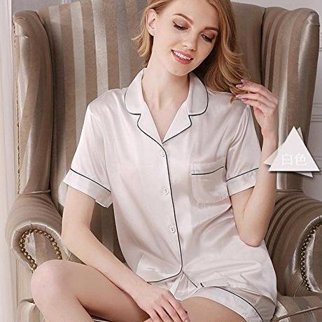(MAYUDAMAシルク)贅沢シルク100% シルク パジャマ レディース 夏 半袖 前開き 上下セット 2ピースセット 知的でエレガント ルームウェア <ホワイト>