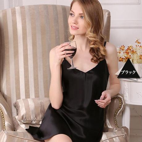 (MAYUDAMAシルク)重厚シルク スリップ 絹100% インナー キャミソール ネグリジェ レディース シンプル ベーシック <ブラック>