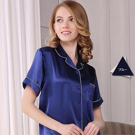 (MAYUDAMAシルク)贅沢シルク100% シルク パジャマ レディース 夏 半袖 前開き 上下セット 2ピースセット 知的でエレガント ルームウェア <ブルー>