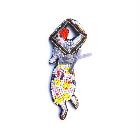 額を持つレディ  | ビーズブローチ hand made beads brooch