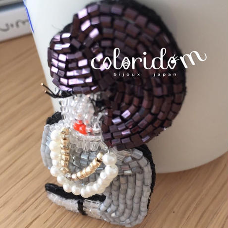 夜会 evening party  | ビーズブローチ hand made beads brooch