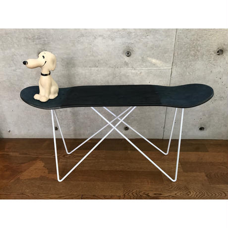 "MADE BY SEVEN -REUSE- ORIGINAL SKATE DECK STOOL ""Crushed Leather"" WHITE"