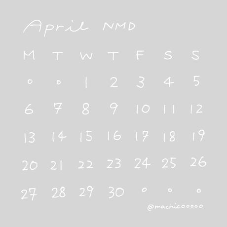 4月NMDカレンダー[白文字×背景なし]
