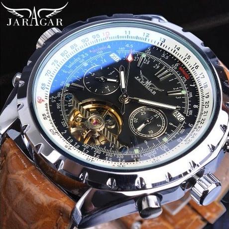 Jaragar メンズ 自動巻腕時計 ブラウンレザーストラップ 47mm