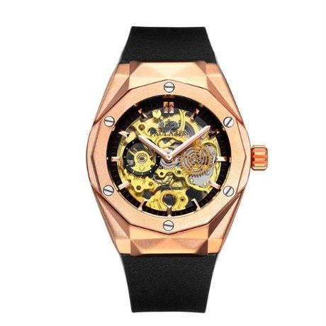 PAULAREIS P メンズ 自動巻腕時計 45mm ラバーバンド ローズゴールド/シルバー/ブラック