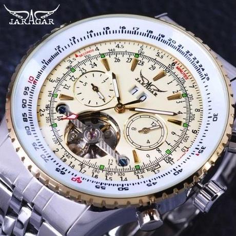 Jaragar メンズ 自動巻腕時計 50mm ビッグフェイス ホワイト/シルバー