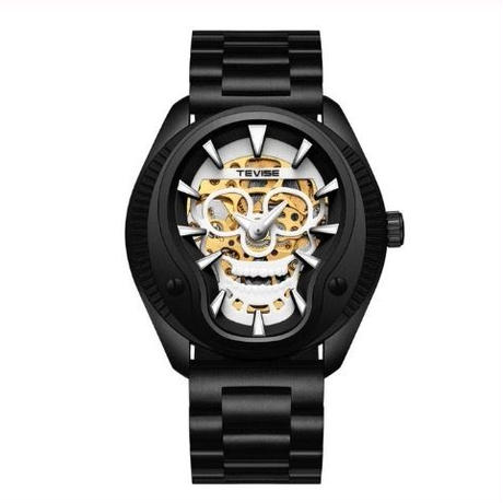 TEVISE メンズ 自動巻腕時計 スカル 42mm 全5色 スチールバンド