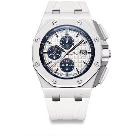 メンズ クォーツ腕時計 クロノグラフ ラバーストラップ ホワイト/シルバー/ブルー
