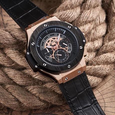 super popular 1ad84 cabd8 MEGIR ウブロ(HUBLOT)風 クォーツ腕時計 メンズ クロノグラフ ...