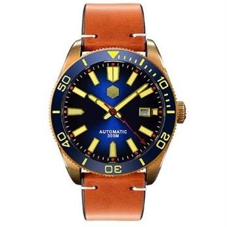 San Martin メンズ 自動巻腕時計 ビンテージスタイル 300m防水