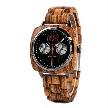 BOBO BIRD 木製腕時計 メンズ スクエアタイプ クラシック クォーツ