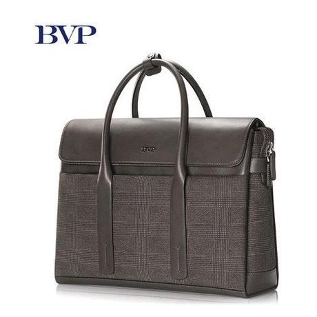 BVP メンズ 本革ビジネスバッグ ブリーフケース ノートPC トラベルバッグ チェック柄 グレー ラージ