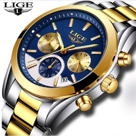 LIGE クォーツ腕時計 メンズ 防水 ハイブランド ビジネス ルミナス ステンレス 9872 ゴールド/ブルー クロノグラフ